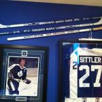 Hall Of Fame Toronto Maple Leafs Darryl Sittler sticks and jersey