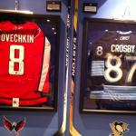 Alexander Ovechkin and Sidney Crosby sticks and jersey