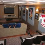 Look how this Martin Brodeur goalie stick finishes off this man cave!