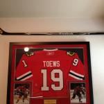 Brandon Saad signed Chicago Blackhawks stick with a Jonathan Toews framed jersey