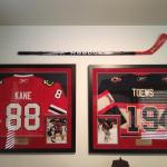 Chicago Blackhawks All-Star Patrick Kane autographed stick along with his jersey and a Jonathan Toews jersey