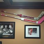 A Pair of Detroit Red Wings Jimmy Howard Autographed and Game-Used Goalie Sticks