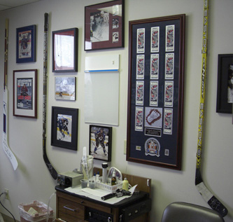 This is how one customer choose to hang his Bourque autographed hockey stick