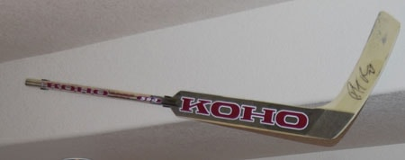 another example hanging a goalie stick with our hockey stick holders